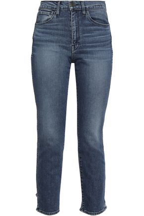 3x1 Distressed high-rise slim-leg jeans