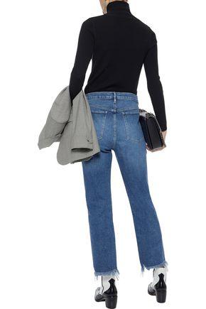 3x1 Distressed high-rise straight-leg jeans