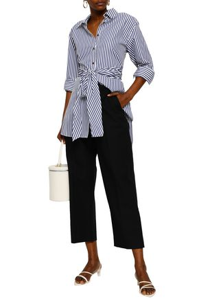 KHAITE Cropped cotton-twill straight-leg pants