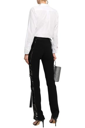 MUGLER Sequin-embellished stretch-crepe slim-leg pants