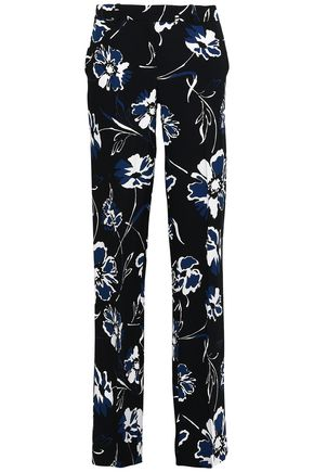 MICHAEL KORS COLLECTION Printed crepe straight-leg pants