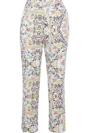 MAX MARA Cropped floral-print cotton-blend bootcut pants