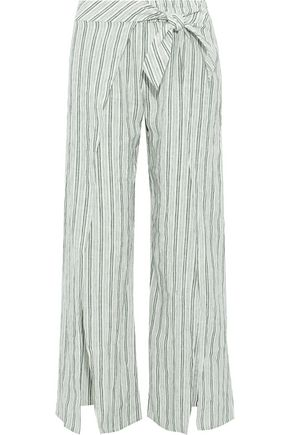 JOIE Sahira tie-front striped linen wide-leg pants