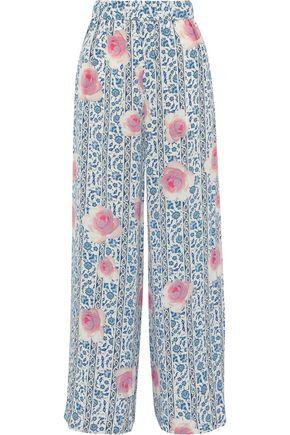 MAX MARA Taddeo floral-print silk crepe de chine wide-leg pants