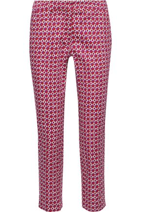 MAX MARA Calcut cropped printed stretch-cotton slim-leg pants