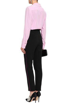 DOLCE & GABBANA Silk satin-trimmed wool-blend crepe slim-leg pants