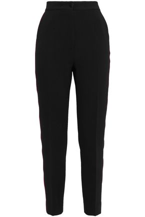DOLCE & GABBANA Silk satin-trimmed wool-blend crepe slim-leg pants