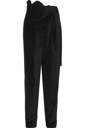 ROSIE ASSOULIN Pleated cotton-velvet straight-leg pants
