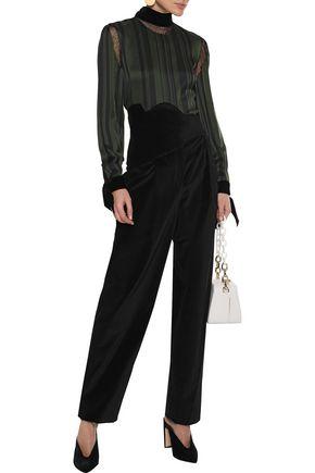 Rosie Assoulin Pants ROSIE ASSOULIN WOMAN PLEATED COTTON-VELVET STRAIGHT-LEG PANTS BLACK