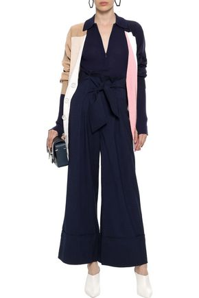 PAPER London Twin tie-front checked crepe wide-leg pants