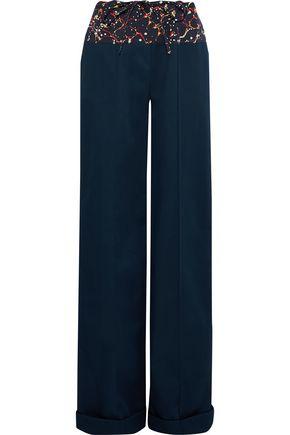 ROSIE ASSOULIN Printed poplin-paneled cotton-blend twill wide-leg pants