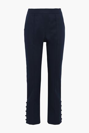 ROSIE ASSOULIN Oboe button-detailed cotton-blend twill slim-leg pants
