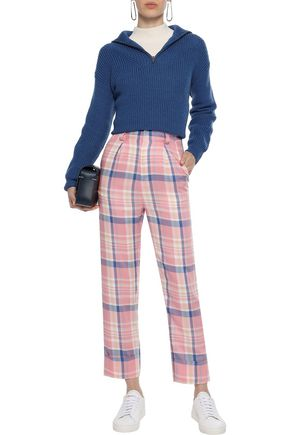 PAPER London Pleated checked twill straight-leg pants
