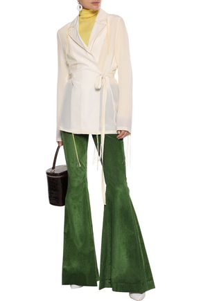 Rosie Assoulin Woman Cotton-Blend Corduroy Flared Pants Leaf Green