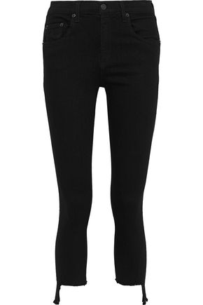 RAG & BONE Cropped frayed mid-rise skinny jeans