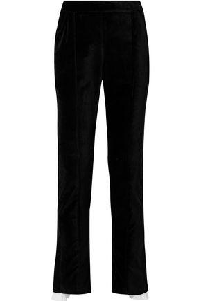ROSIE ASSOULIN Are We Having Funnel Yet plissé voile-trimmed cotton-velvet straight-leg pants