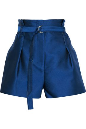3.1 PHILLIP LIM Belted pleated satin-faille shorts