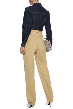 ROSIE ASSOULIN Snap-detailed cotton-blend twill tapered pants