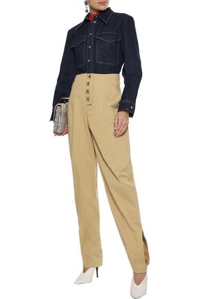 Rosie Assoulin Woman Snap-Detailed Cotton-Blend Twill Tapered Pants Sand