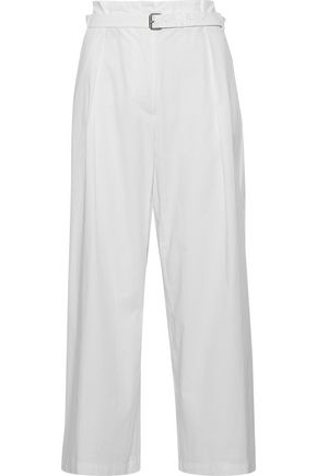 MAX MARA Elsa belted cotton-twill wide-leg pants