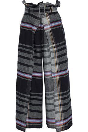WEEKEND MAX MARA Artur layered checked linen wide-leg pants