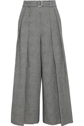 WEEKEND MAX MARA Oncia belted houndstooth cotton and linen-blend wide-leg pants