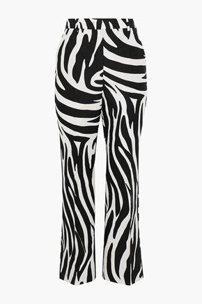 MAX MARA Osso cropped zebra-print cotton-faille bootcut pants