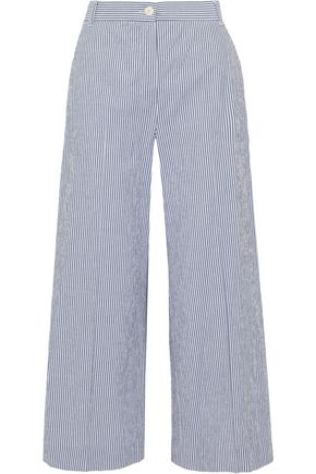 MAX MARA Fanfara cropped striped cotton-blend wide-leg pants