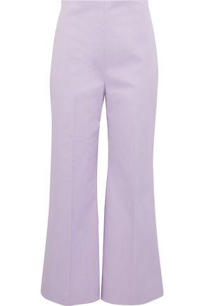 MAX MARA Tirana cropped stretch-cotton piqué wide-leg pants