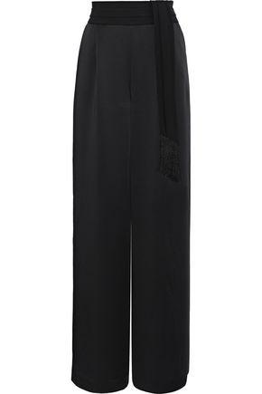RACHEL ZOE Delta belted grosgrain-trimmed satin wide-leg pants