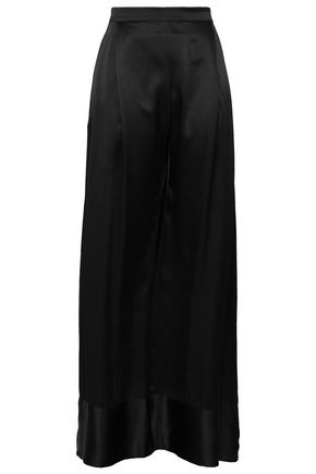MICHAEL LO SORDO Pleated satin-trimmed silk crepe de chine wide-leg pants
