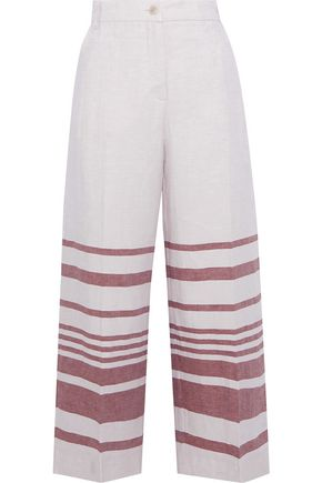 MAX MARA Ridente cropped striped linen and cotton-blend wide-leg pants