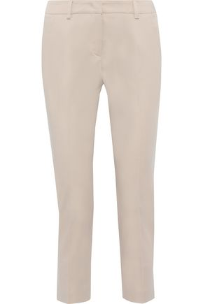 MAX MARA Platani cropped stretch-cotton twill slim-leg pants