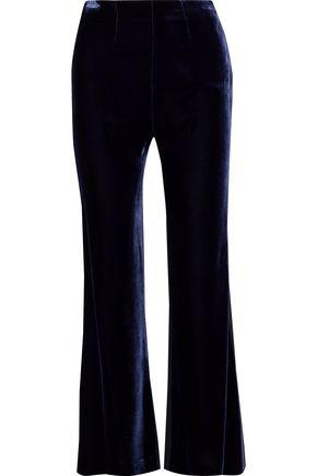 ROLAND MOURET Velvet-trimmed crepe flared pants