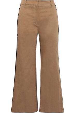 GOEN.J Cropped striped cotton-twill wide-leg pants