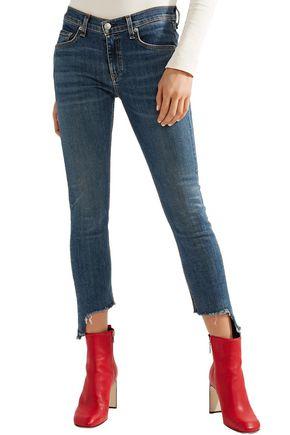 RAG & BONE Cropped frayed mid-rise skinny jeans