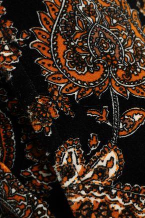 MICHAEL MICHAEL KORS Cropped printed cotton-blend velvet wide-leg pants