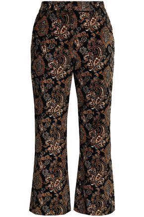 MICHAEL MICHAEL KORS Cropped printed cotton-blend velvet wide-leg pants