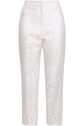 MICHAEL MICHAEL KORS Fil coupé cotton-blend straight-leg pants