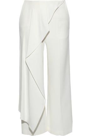ROLAND MOURET Griffith cropped draped stretch-crepe wide-leg pants