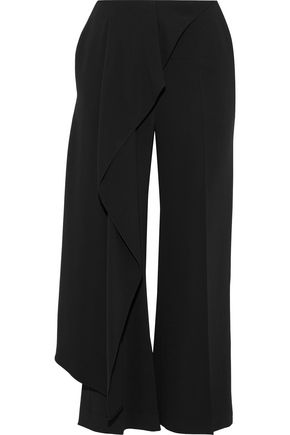 ROLAND MOURET Griffith draped crepe wide-leg pants