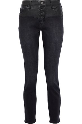 CURRENT/ELLIOTT Faux leather-paneled distressed denim high-rise skinny jeans