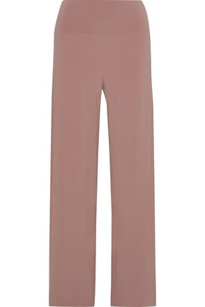 NORMA KAMALI Jersey-trimmed cady wide-leg pants
