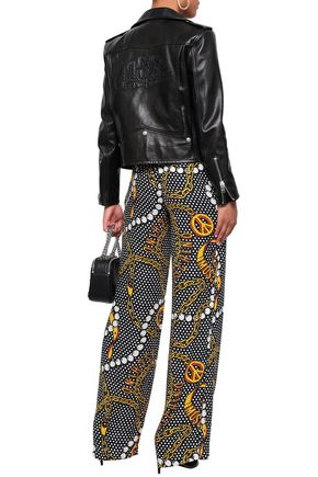 MOSCHINO Printed crepe wide-leg pants