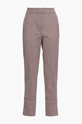 CEDRIC CHARLIER Checked wool-blend tapered pants