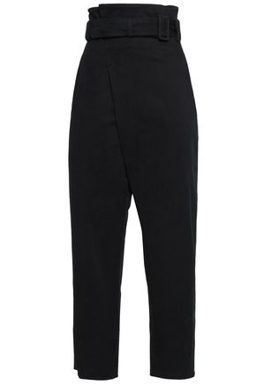 CEDRIC CHARLIER Cropped belted cotton-blend twill straight-leg pants