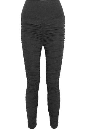 NORMA KAMALI Ruched mélange stretch-jersey leggings