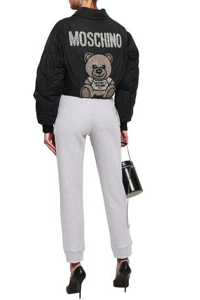 MOSCHINO Embroidered mélange cotton tapered pants