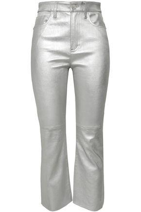 CURRENT/ELLIOTT Metallic stretch-leather kick-flare pants