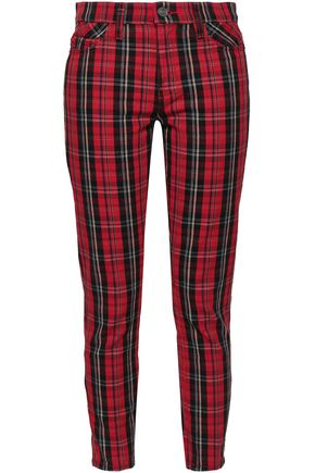 CURRENT/ELLIOTT Checked cotton-blend jacquard skinny pants